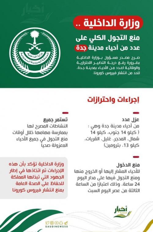 الداخلية السعودية تقر حجر 7 أحياء جديدة بالكامل في جدة على مدار 24ساعة
